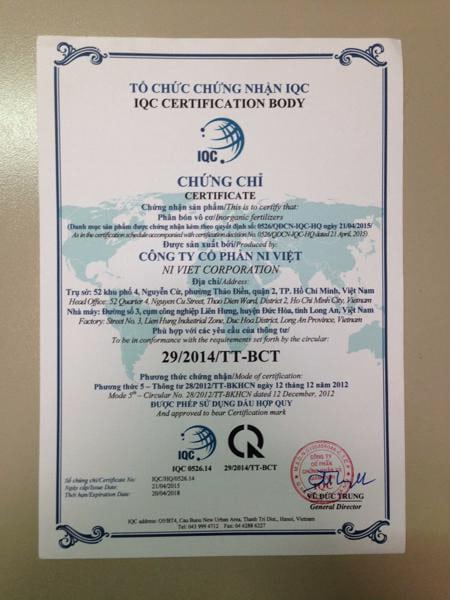 giấy chứng nhận hợp quy phân bón thủy canh tc-mobi